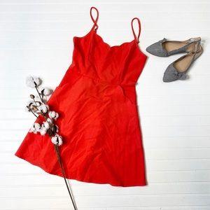 Market & Spruce Orange Red Crissie Scallop Dress